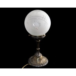 Brass table lamp with globe...